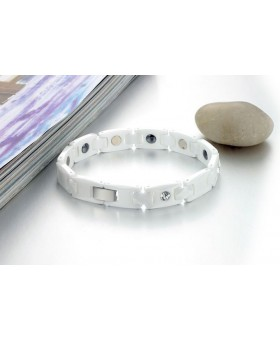 Bracelet lux, céramique blanche et diamants - Mixte
