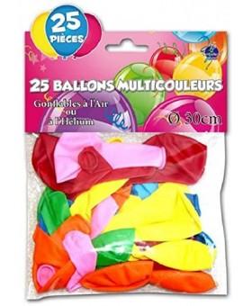Paquet de 50 Ballons Ronds Standard Couleurs Assorties Fête Anniversaire Déco.